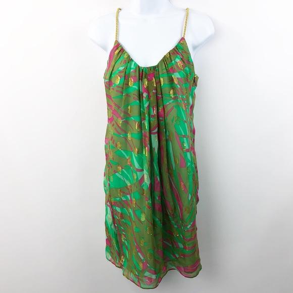 207dfb60ec Milly Silk Blend Dress Tropical Print